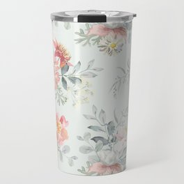 Bouquets of pink flowers and pearly gray leaves Travel Mug