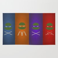 tmnt Area & Throw Rugs featuring TMNT Minimalist by JaggedGenius