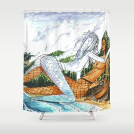 PNW Fishnets - Earth and Sky Goddess Kiss Painting Shower Curtain
