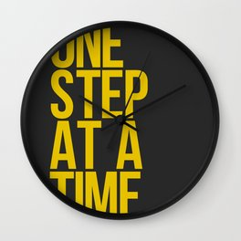 One Step At A Time / Gold + Black Wall Clock