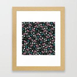 Little Leopard cub jungle forest palm tree pink Framed Art Print
