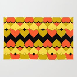 Multi Hearts Chartreuse Tangerine Black Rug