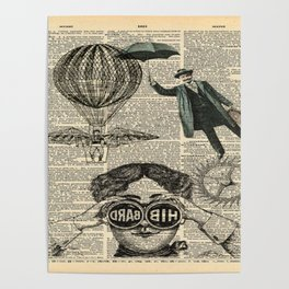 newspaper print dictionary page binoculars hot air balloon victorian steampunk Poster