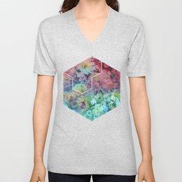 Floral Hexagon Unisex V-Neck