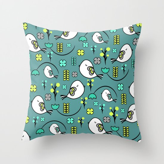 Cute Pillows And Blankets : Cute birds and flowers Throw Pillow by CocoDes Society6
