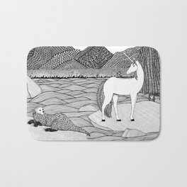 A Meeting by the Water--B&W Bath Mat