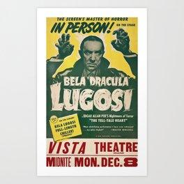 Dracula, Bela Lugosi, vintage poster Art Print
