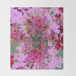 PINK HOLLYHOCK FLOWERS TEAL ABSTRACT GARDEN Throw Blanket
