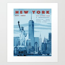 NYC Poster Print [Red, White & Blue] Art Print