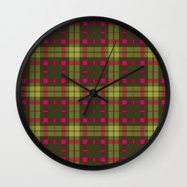 Purple and green Tartan (Scotch) Pattern Wall Clock