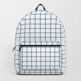Minimalism Window Pane Grid, Blue on White Backpack