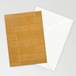 Minimal, Fine Stripe, Pattern, in Yellow Stationery Cards