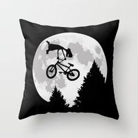 et Throw Pillows featuring ET tailwhip by le.duc