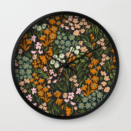 Night in the flowered meadow Wall Clock