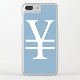 yuan currency sign on placid blue background Clear iPhone Case