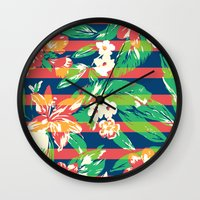tropical Wall Clocks featuring Tropical by Steven Toang