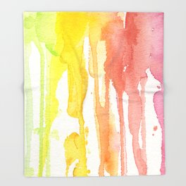 Rainbow Watercolor Texture Pattern Abstract Throw Blanket