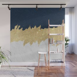 Navy blue white lace gold glitter brushstrokes Wall Mural