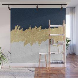 Navy blue white lace gold glitter brushstrokes Wall Mural