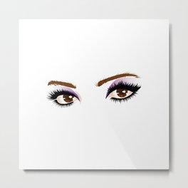 Brown female eyes with make up Metal Print