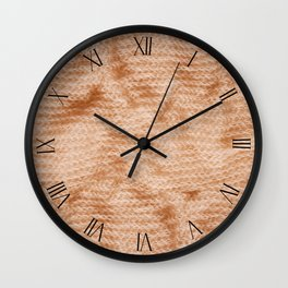 Beige fluffy knitted fabric textured abstract Wall Clock