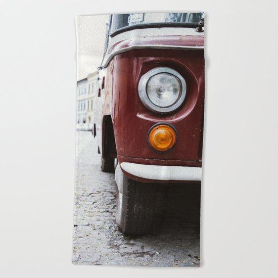 Retro Red Car Beach Towel