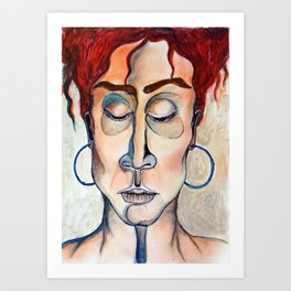 Surrender Portrait of a Woman Gypsy Pastel Orange Art Print