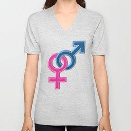 Female male coupled symbols Unisex V-Neck