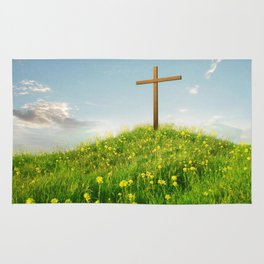 Wooden ✞ Cross Upon Grass Hill Rug