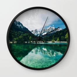 Reflective Lake Clear Mountains Wall Clock