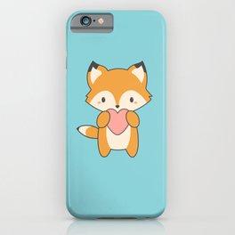 Kawaii Cute Fox With Hearts iPhone Case