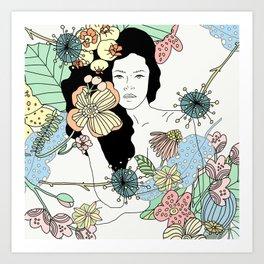 Flower Maiden Blossom Art Print