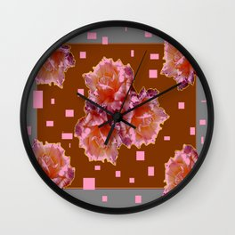 Grey Color & Coffee Brown Pink color old Rose flowers Pattern Ar Wall Clock