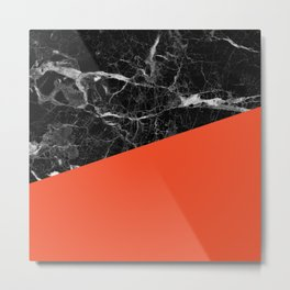 Black marble and flame color Metal Print