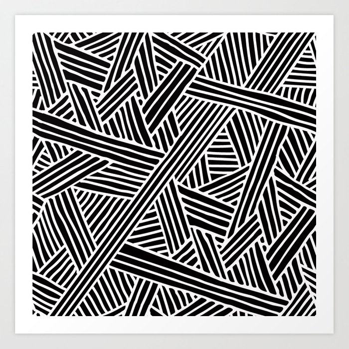 Abstract Black White Lines And Triangles Pattern Mix And Match With Simplicity Of Life Art Print By Simplicity Of Live