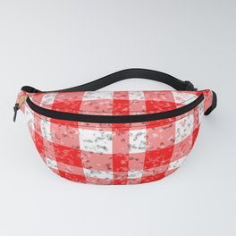 Red White Patchy Marble Tartan Pattern Fanny Pack