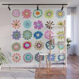 Bohemian Flower Shower Curtain by Karen Fields Wall Mural