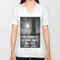 bible verse V-neck T-shirts featuring Bible verse - Donaghadee Lighthouse by cmphotography