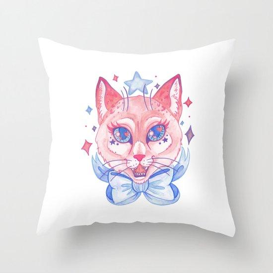 Kawaii Kitty Throw Pillow