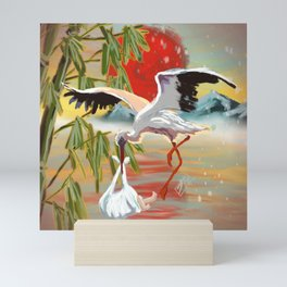 Stork and Baby Mini Art Print