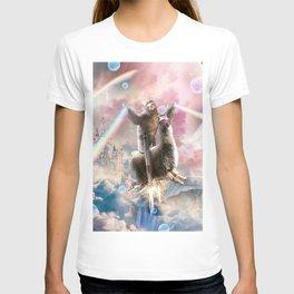 Rainbow Laser Sloth On Llama Unicorn In Space T-shirt