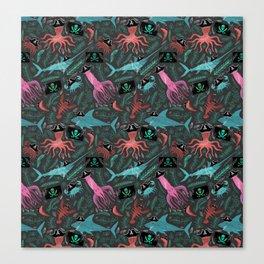 Cap'n Crabby's Cranky Crew o' Crustaceans and Sea Creatures Canvas Print