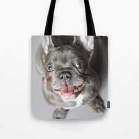 french bulldog Tote Bags featuring French Bulldog by Falko Follert Art-FF77