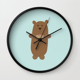 Berry Bear Hearts Pie Wall Clock