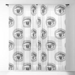 black and white magic eye pattern Sheer Curtain