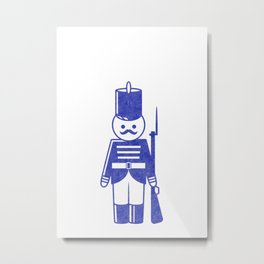 French toy soldier with shotgun, drawing with letterpress effect. Metal Print