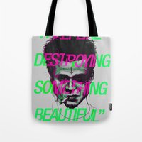 tyler durden Tote Bags featuring Tyler the Destroyer by Davies Babies