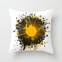 springsteen Throw Pillows featuring Don't Destroy the Vinyl by Sitchko Igor