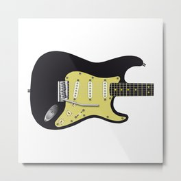 Black Electric Guitar Metal Print