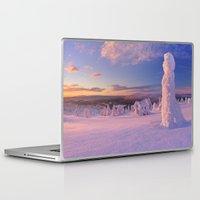 levi Laptop & iPad Skins featuring III - Sunset over frozen trees on a mountain, Levi, Finnish Lapland by Sara Winter